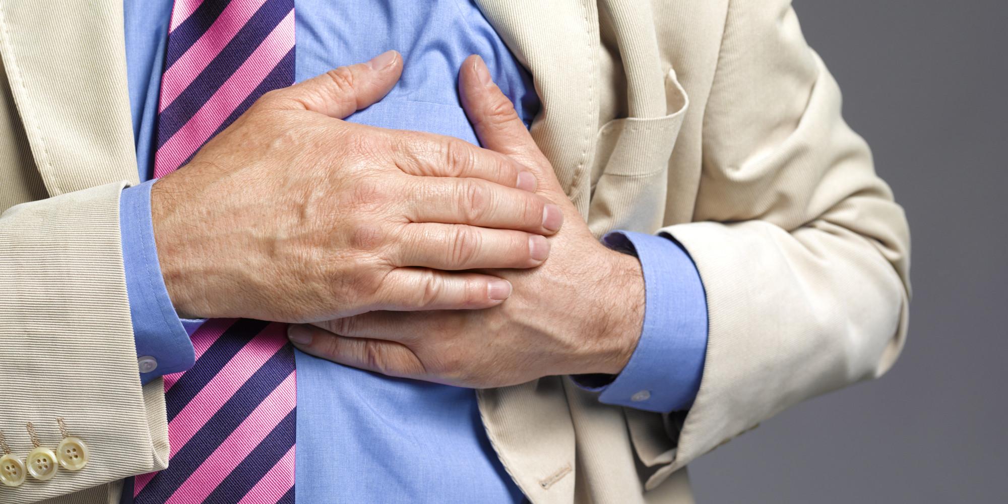 Senior man having a stroke/heart attack